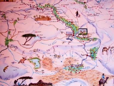 Dibujo del valle del Draa (Marruecos)