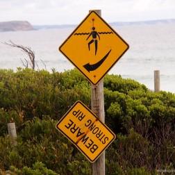 Señal de Peligro Corrientes Fuertes (Strong Rip) - Kangaroo Island (Australia)