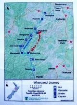 Mapa de la zona navegada del río Whanganui