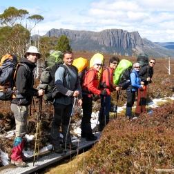 El comando en Overland Track (Tasmania)