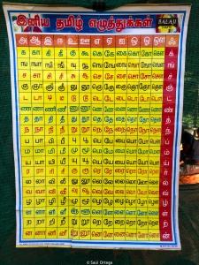 Una maestra enseña el abecedario y vocabulario a los más pequeños. En Tamil, claro.