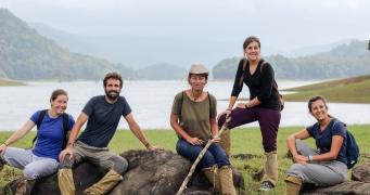 El equipo aventurero en el Parque Periyar - Kerala - India