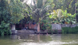 Disfrutando del agua en Alappuzha - Kerala - India